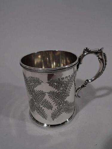 Antique English Victorian Aesthetic Sterling Silver Baby Cup 1877