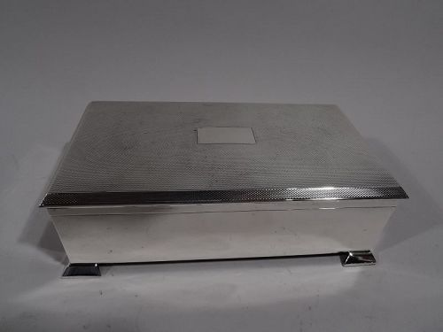 Handsome English Art Deco Sterling Silver Box
