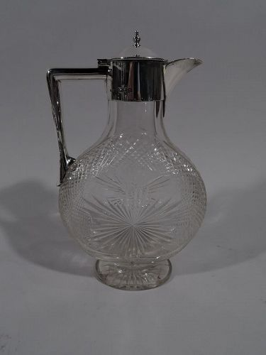 Antique English Victorian Sterling Silver & Cut-Glass Moon Decanter