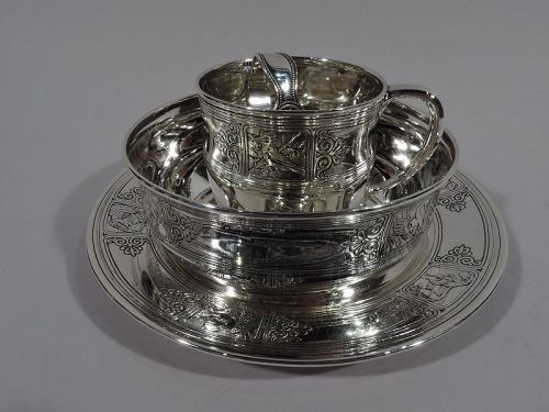 Antique Tiffany Edwardian Sterling Silver 4-Piece Baby Set