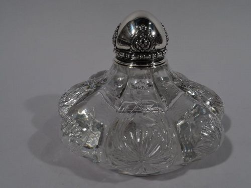 Tiffany Art Nouveau Sterling Silver and Engraved Glass Inkwell