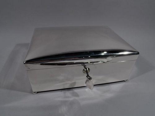 Super-Sized Sterling Silver Alpha Cigar Box by Walker & Hall 1912