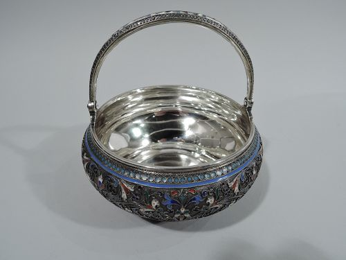 Beautiful Antique Russian Silver & Enamel Basket