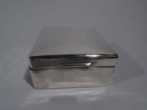 English Modern Small Square Sterling Silver Box 1925