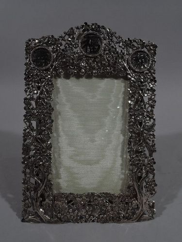 Antique Chinese Silver Blossoming Branch Picture Frame by Wang Hing