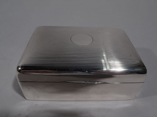 English Art Deco Sterling Silver Box 1920