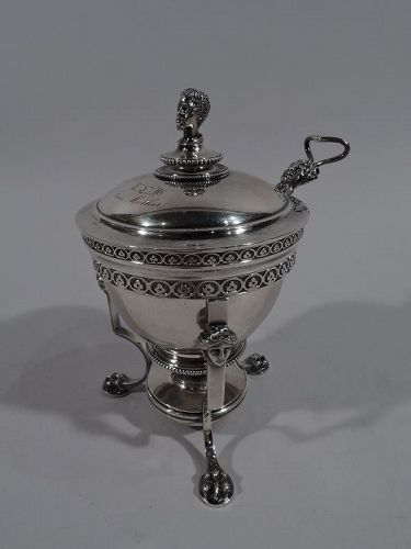 Early Tiffany Sterling Silver Exotic Sauce Bowl with Spirit Lamp