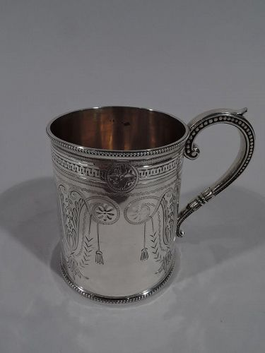Antique English Victorian Aesthetic Sterling Silver Baby Cup 1879