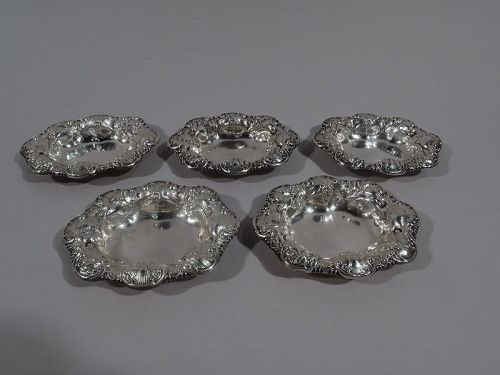 Set of 5 Antique American Art Nouveau Sterling Silver Nut Dishes