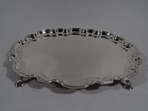Tiffany Modern Georgian Sterling Silver Piecrust Salver Tray