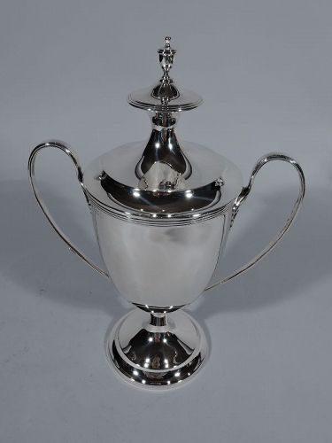 Antique English Edwardian Neoclassical Sterling Silver Trophy Cup
