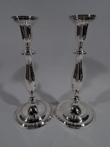 Pair of Modern Georgian Sterling Silver Candlesticks by Blackinton