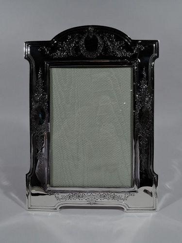 Large Antique American Edwardian Regency Sterling Silver Picture Frame