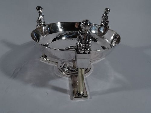 Antique German Classical Silver Centerpiece Bowl with Bacchic Babes