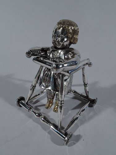 Antique European Silver First-Steps Baby Girl Bobble Head