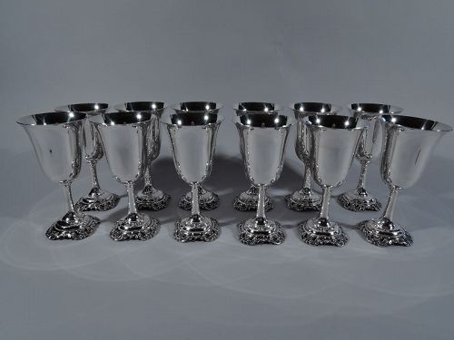 Set of 12 Wallace Grande Baroque Sterling Silver Goblets
