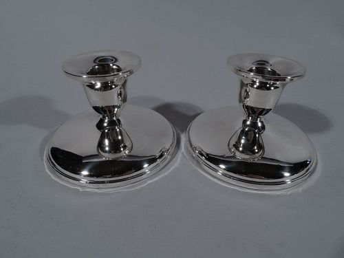 Pair of American Modern Sterling Silver Low Candlesticks