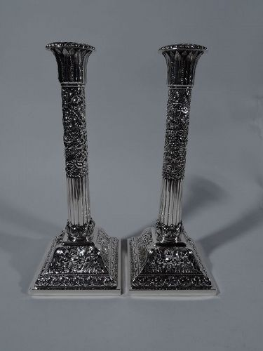 Pair of Tiffany Tall Classical Column Sterling Silver Candlesticks