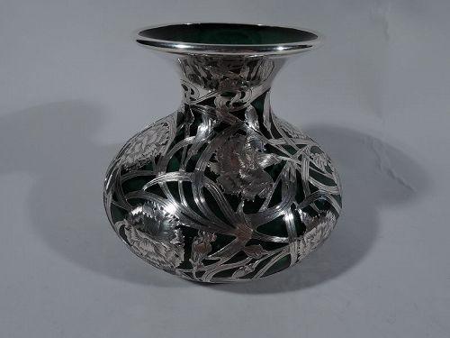 Large Art Nouveau Green Glass Silver Overlay Centerpiece Vase by Alvin