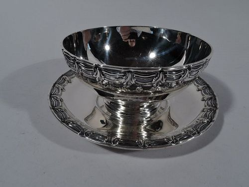 Antique Fancy Sterling Silver Sauce Bowl on Plate by Tiffany