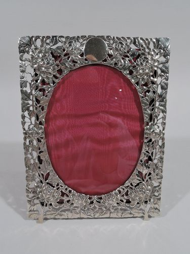 Antique Chinese Silver Chrysanthemum Picture Frame