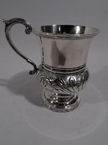 Antique American Classical Coin Silver Baby Cup by Philadelphia Maker