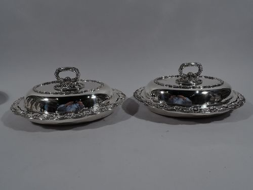 Pair of Tiffany Chrysanthemum Sterling Silver Covered Serving Dishes