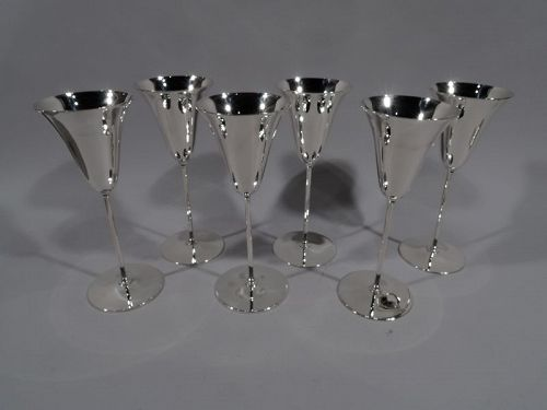 Set of 6 Tiffany Modern Sterling Silver Chic Champagne Tulip Flutes