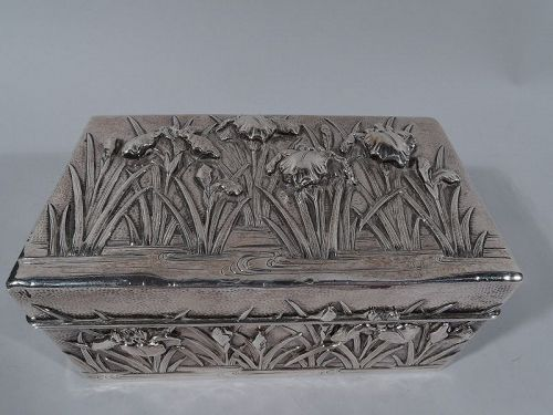 Fine Arthur & Bond Japanese Hand-Hammered Casket Box with Irises