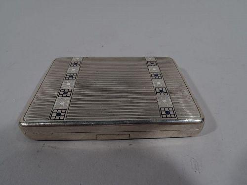 Antique Austrian Art Deco Silver & Enamel Case