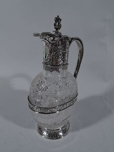 Antique English Sterling Silver and Brilliant-Cut Glass Decanter 1894