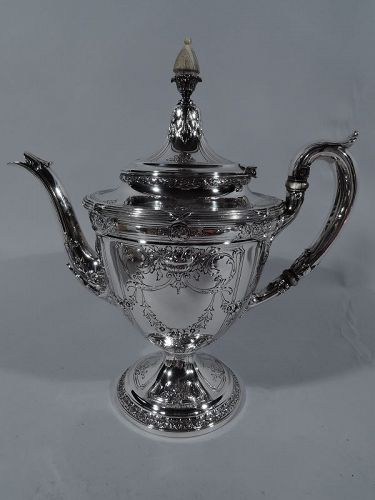 Antique American Edwardian Classical Sterling Silver Teapot by Gorham