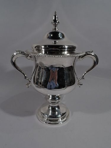 Antique English Edwardian Sterling Silver Covered Urn Trophy Cup 1904