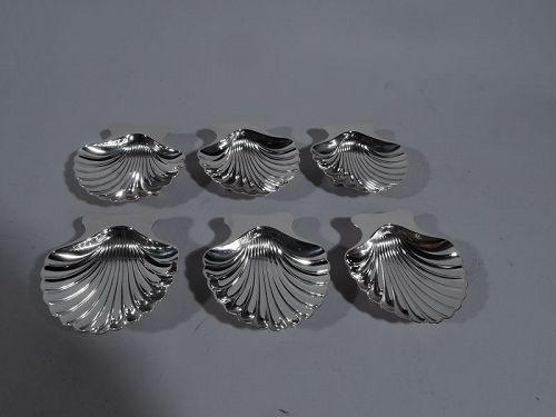 6 Tiffany Modern Classical Scallop Shell Sterling Silver Nut Dishes
