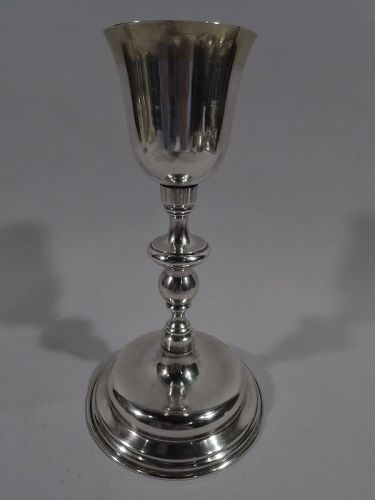 Tall Antique Silver Chalice Goblet 19 C