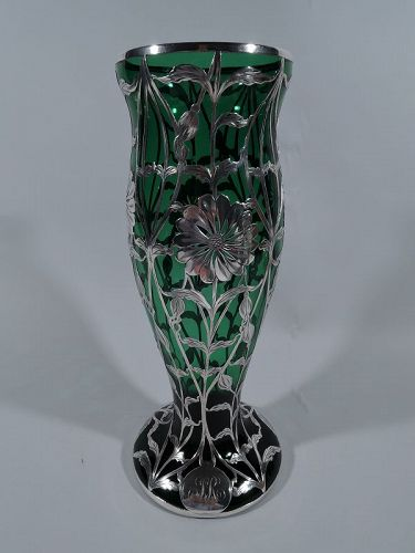 Art Nouveau Green Glass Vase with Floral Silver Overlay by Matthews