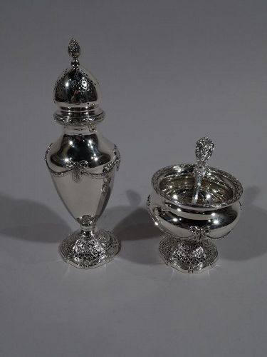 Antique Shreve Edwardian Regency Sterling Silver Salt & Pepper