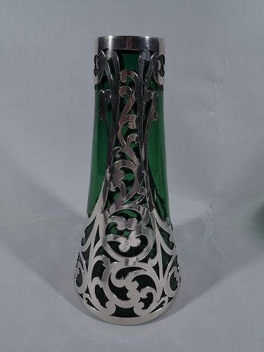 Art Nouveau Green Class Vase with Unusual Cased Silver Overlay