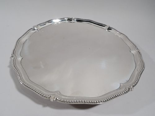 English Georgian Neoclassical Sterling Silver Salver Tray 1777