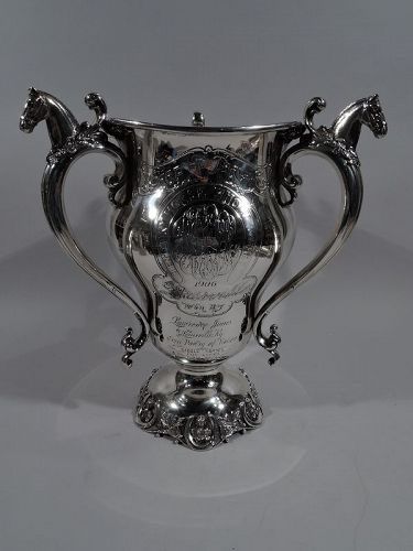 Antique Sterling Silver Kentucky Horse Race Loving Cup Trophy C 1906