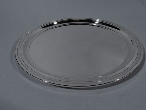 Classic Modern Sterling Silver 12-Inch Round Serving Tray by Tiffany