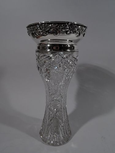 Antique American Brilliant-Cut Glass & Sterling Silver Vase by Gorham