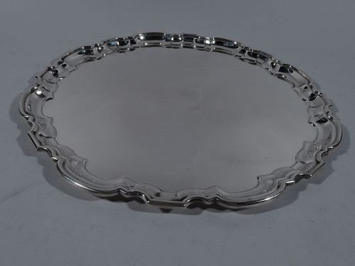 Traditional English Sterling Silver Georgian Piecrust Tray 1950