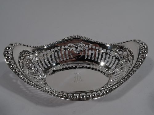 Antique American Edwardian Pierced Sterling Silver Bowl