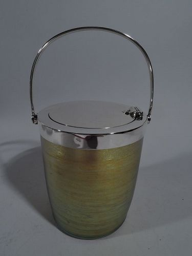 Beautiful Tiffany Art Nouveau Sterling Silver & Favrile Glass Jam Pot