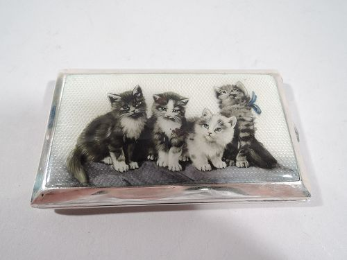 Kittens Galore! Antique Austrian Silver and Enamel Cigarette Case