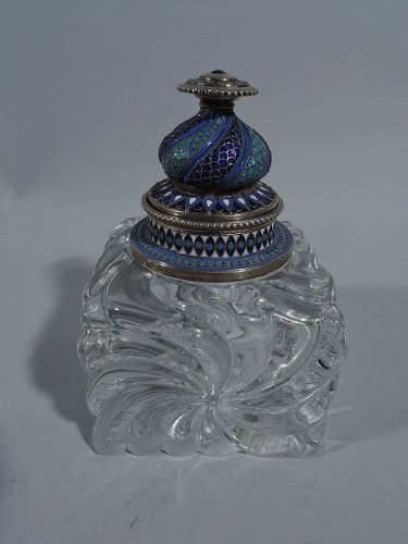 Antique Russian Silver Gilt, Enamel & Carved Glass Inkwell