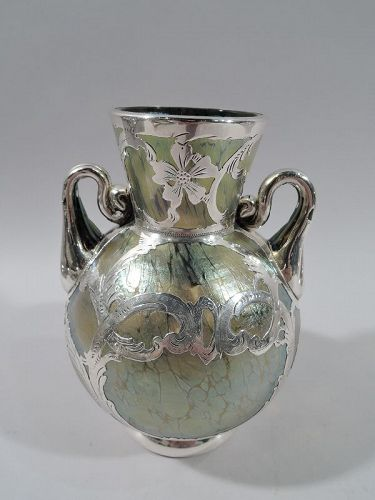 Austrian Art Nouveau Iridescent Yellow Glass Silver Overlay Vase