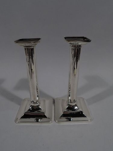 Pair of Tiffany Modern Classical Sterling Silver Column Candlesticks