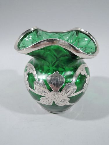 Art Nouveau Green Quilted Glass Silver Overlay Bud Vase by Loetz